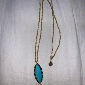 Kendra Scott antique brass and Turquoise necklace
